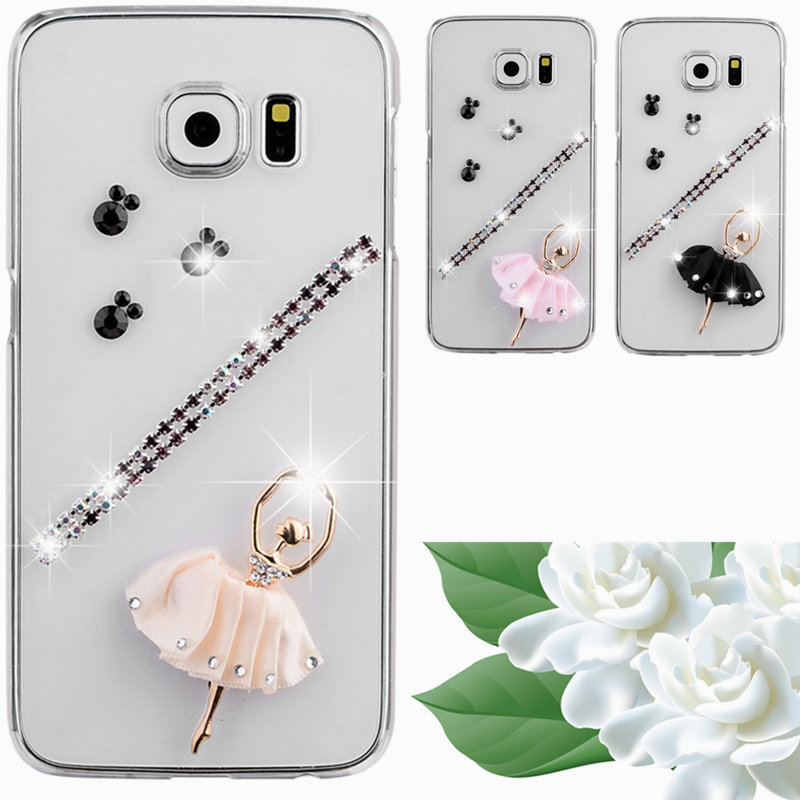DIY Pure manual Floral Plastic transparent crystal case For samsung galaxy s3 mini i8190 bling rhinestone mobile phone cover(China (Mainland))
