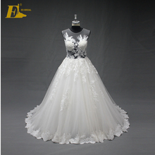 See Through Corset Wedding Gowns Sleeveless Appliques Bodice Colored Wedding Dresses Online For Sale(China (Mainland))
