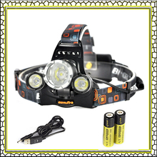 100% Brand Boruit RJ-5000 Headlamp 6000 Lumens Headlight Cree XML T6+2R5 LED Flashlight Head Lamp with 18650 Battery and Charger