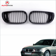 Professional Car Accessories 2Pcs Car Front Grill Gloss Black Kidney Front Grille for BMW E46 3 Series 4 Door 2002-2005(China (Mainland))