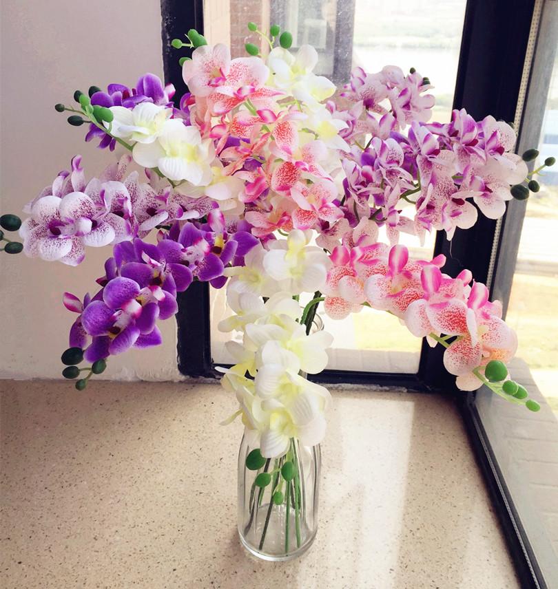 Silk Cymbidium Orchid Flower 11 Heads/Piece Simulated Fake Mini Phalaenopsis Orchids Wedding Party Artificial Decorative Flowers(China (Mainland))