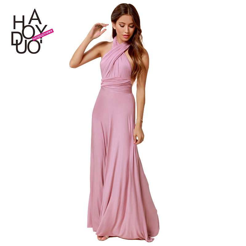 Fashion bohemia maxi dress sexy cross back solid color floor-length dress women long party dress haoduoyi 7 colors