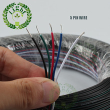 Free shipping 10meters/lot 22 AWG  RGBW white warm white LED strip RGBW 5 PIN wire cable extension wire connector