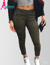 Gagaopt 2016 Skinny Elastic Cargo Pants Women Army Pants Pantalon Femme P0124(China (Mainland))