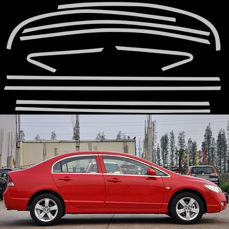 New Car Styling Full Window Decoration Trim Strips For Honda Civic 8th 2008 2009 2010 2011 Stainless Steel Accessories OEM-10-18