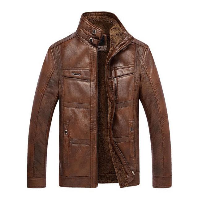 Новый мужские кожаные куртки мужчины толстый бархат Кожа PU является высокотехнологичным ...