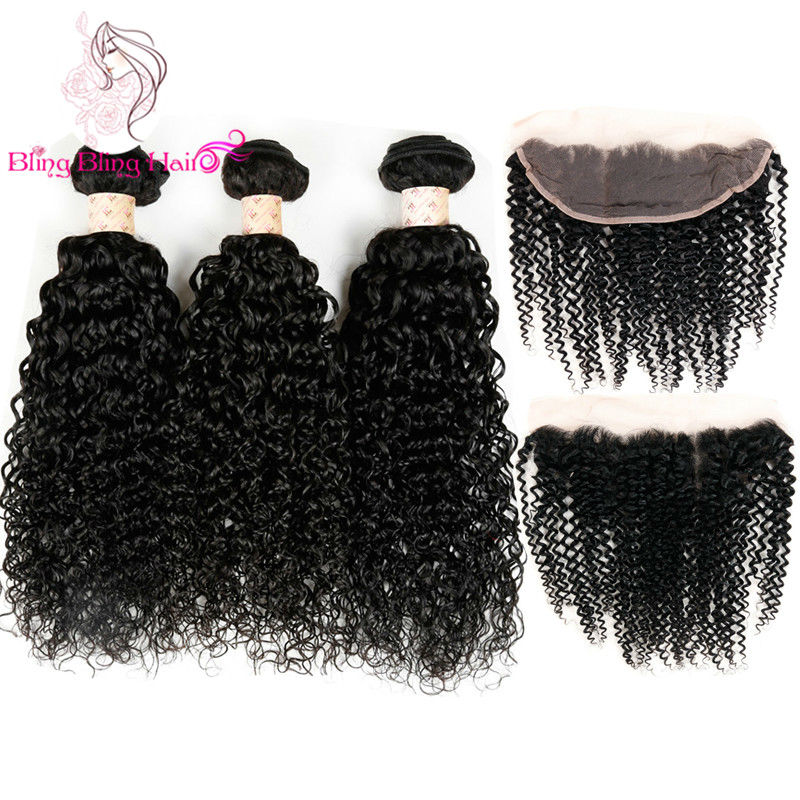 Peruvian Kinky Curly Virgin Hair With Closure 3 Bundles With Frontal Closure Vip Beauty Hair Human Hair Bundles With Closure