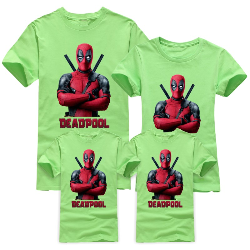 Summer New Cartoon Children T Shirts Kids Deadpool Family Matching Outfits T-Shirt children's Clothing For Boys Girls T-Shirts(China (Mainland))