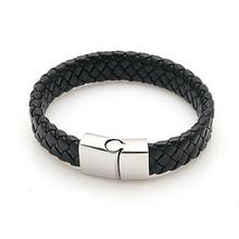 New Fashion Jewelry Black Braided Leather Bracelet Men Stainless Steel Bracelets Bangles De Couro Pulseiras Masculinos YK2057(China (Mainland))