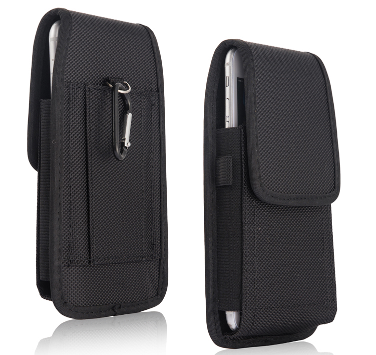 2 Styles 5.5inch Horizontal+Vertcal Nylon Pouch Bag Hook Carabiner Belt Holster Case For Bluboo Edge,Dual,Maya,X6,Ulefone Be Pro(China (Mainland))