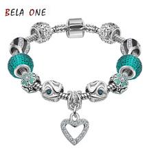 Best LOVE Gift Silver Plated Heart Charm bracelet for Women Murano Glass Beads Jewelry Original Bracelets Cuff Bracelet  PS3130(China (Mainland))