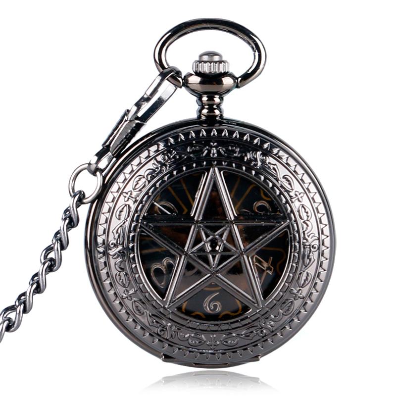 Christmas Gift Black Pocket Watch Hour Hot TV Series Supernatural Fob Pentagram Mechanical Hand Wind Crown Pattern Steampunk(China (Mainland))