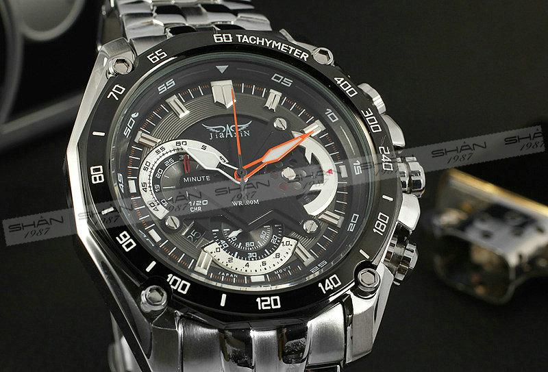 Мужчины военный открытый кварцевые наручные часы из нержавеющей - стальной ленты суб-набор авто - дата тахометр многофункциональный + коробка