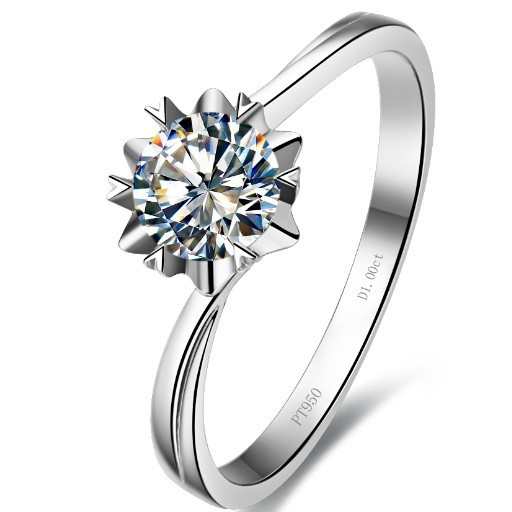 Wholesale 1ct Snowflake Diamond ring sterling silver Soliatire engagement ring white gold 14k plated wedding ring gift(China (Mainland))