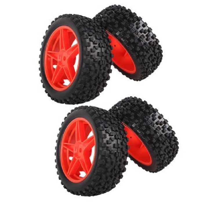 4Pcs 1:10 RC Buggy Tires Front Rear Wheel Rim Rubber Tyre Tires Red 66004-66025 For Off-Road Car(China (Mainland))