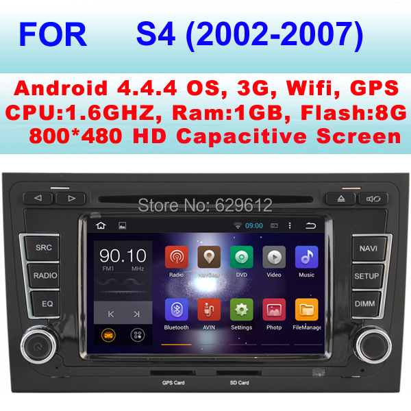 Car radio 2 din android gps for Audi S4 Car dvd player (2002-2007) With Android 4.4.4 Pixels 1024*600 CPU1.6GHZ Frequency(China (Mainland))