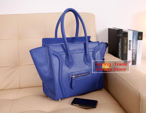 Hot selling!! 2014 New arrival A++++ put in carton PU leather smiley bag smile big handbag shoulder bag hardware(China (Mainland))