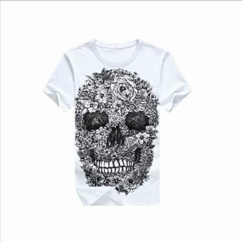 2015 New Men's t-shirt skull printing summer fashion men Hip Hop Men T-shirt 3D t-shirt
