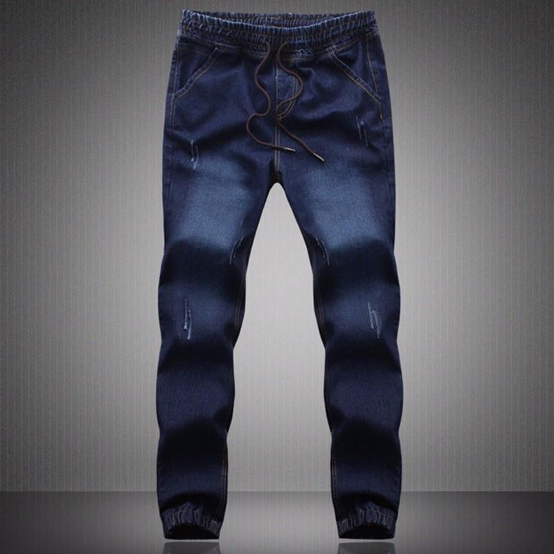 New Plus Size Denim Mens Jeans Men Cotton Elastic Waist Drawstring Jogger Pants Sweatpants Men's Trousers M~5XL Blue Cargo Pants