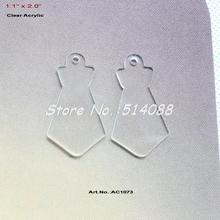 """(30 pcs/lot) 50MM Clear Acrylic Blank Tie Key Chain Laser Cut Save the Date Boy Father's Day Scrapbooking 2""""-AC1073(China (Mainland))"""