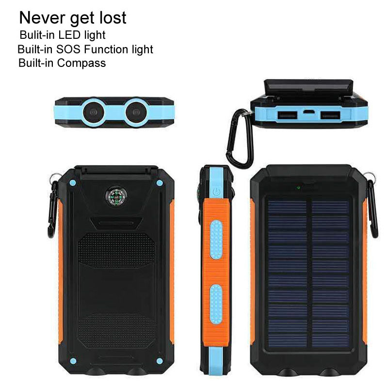 Waterproof Solar Power Bank 10000mah Dual USB LED light Compass SOS Travel Solar Battery Charger powerbank for all phone