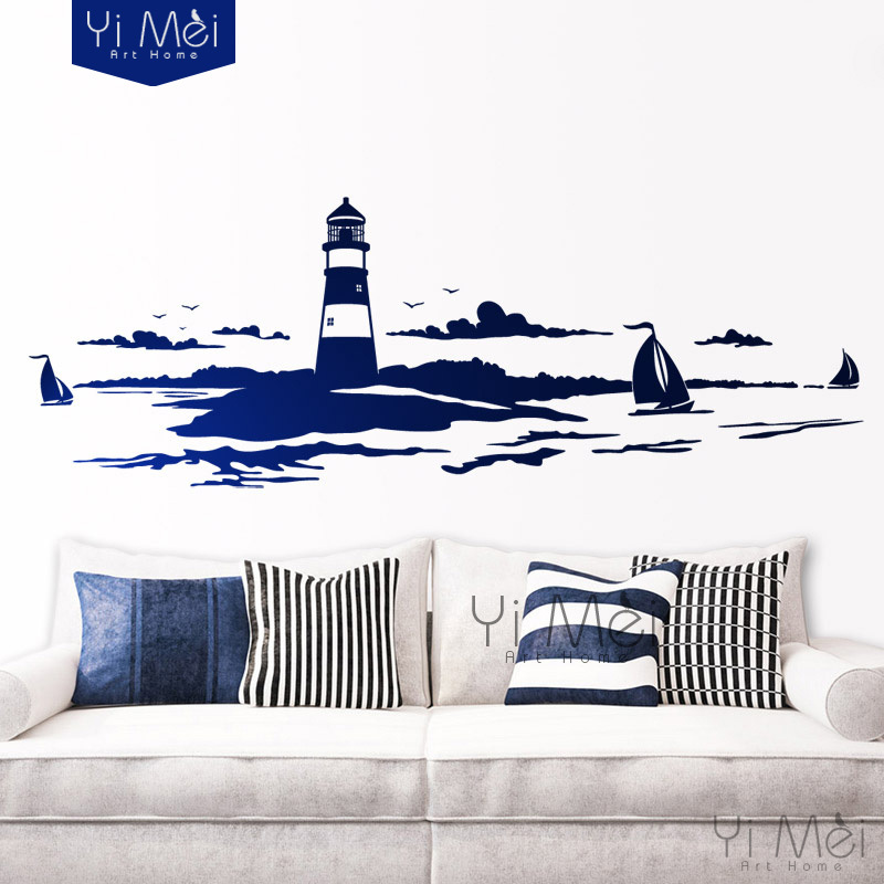 Removable wall sticker sailing boat tower photo art decals for Diy photographic mural