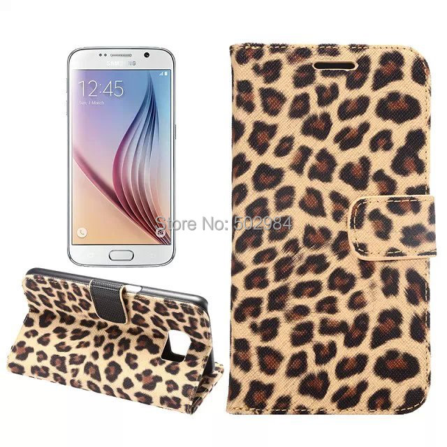 Leopard Wallet Stand Leather Case for Samsung Galaxy S6 Project Zero G9200 G920A Mobile Phone Cover PU Jean Cloth Card Cash Slot