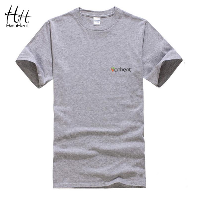HanHent Brand HANHENT Logo T-shirt Solid Color Tshirt Men Fitness Tee Shirt Round Collar Casual Cotton Sport T Shirt Homme(China (Mainland))
