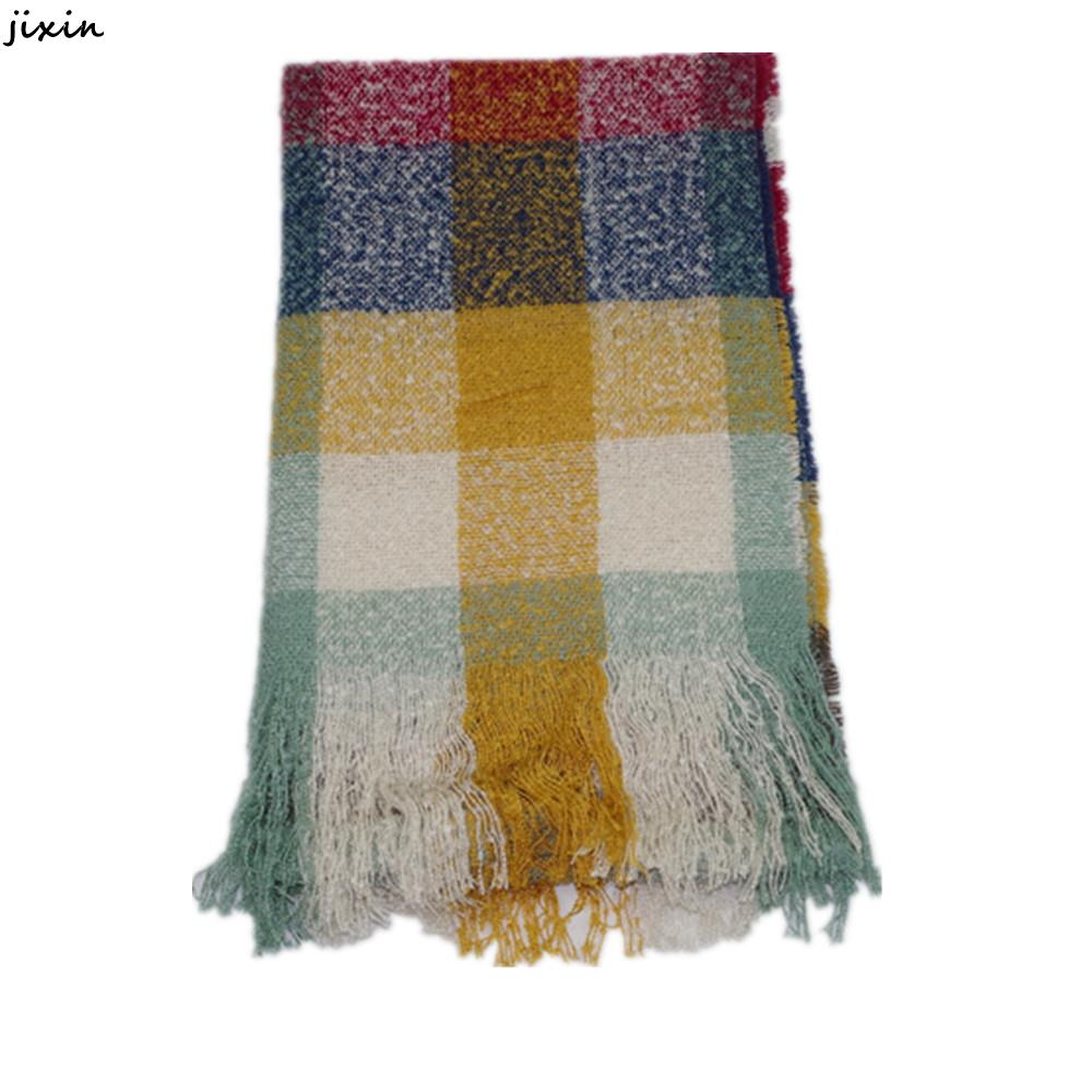 Multi Colored Scarf Knitting Pattern : Winter Women Scarves Imitation Cashmere Multi Colored Plaid Scarf Shawls Soft...