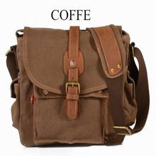 School Shoulder Bag Casual Crossbody Bags Vintage Canvas Leather Messenger Bags Travel Satchel Khaki Army Green