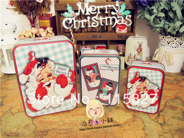 Free Shipping!2013 New!Christmas men design Metal Storage 3pc container Tin case Iron box Christmas gift Box House decoration(China (Mainland))