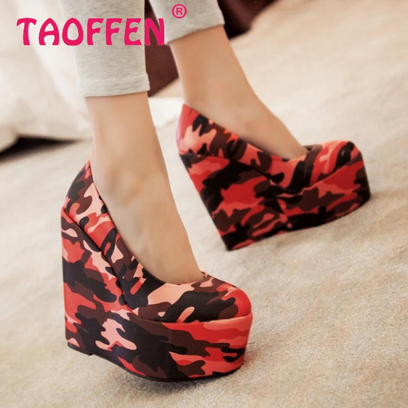 women wedge leopard high heel shoes footwear sexy brand platform spring fashion heeled pumps heels shoes size 32-43  P17052