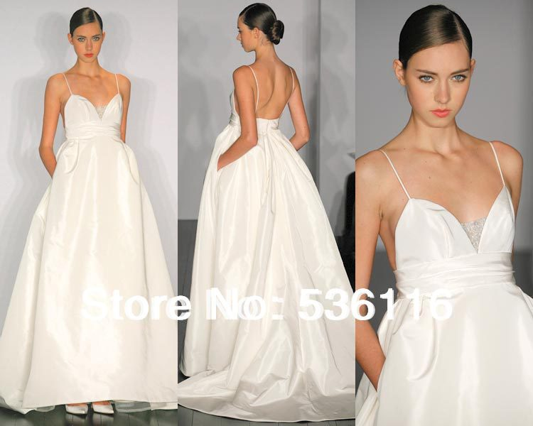 Wedding Dress With Pockets And Spaghetti Straps : Neck zipper floor length pockets spaghetti straps wedding dresses