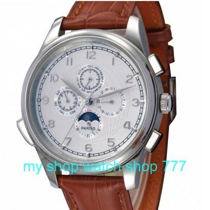 44 мм PARNIS фазы луны показывают, что автоматические механические часы Высокого качества 2016 новый мужской моды часы оптом 0240aa