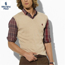 New Men Polo Sweater Vest Men's V-neck Net Solid Colored Sweater Vest Male Fashion Brand Sleeveless Sweater Navy Blue Black 2XL(China (Mainland))