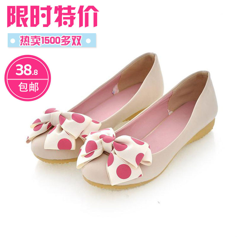 2013 spring low-heeled cow muscle female shoes outsole sweet gentlewomen bow flat heel single shoes princess shoes(China (Mainland))