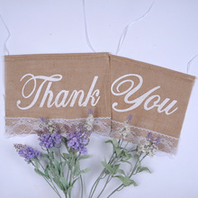 2pc/set Wedding Thank you Party Flags Raw Jute Simple Style Linen Banner Used In Wedding Party Thanksgiving Birthday Decoration(China (Mainland))