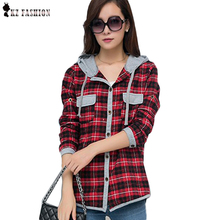 New Arrival 2016 Autumn Cotton Long Sleeve Red Checked Plaid Shirt Women Hoodie Casual Blouse Plus Size XXL Sweatshirt C5N531(China (Mainland))