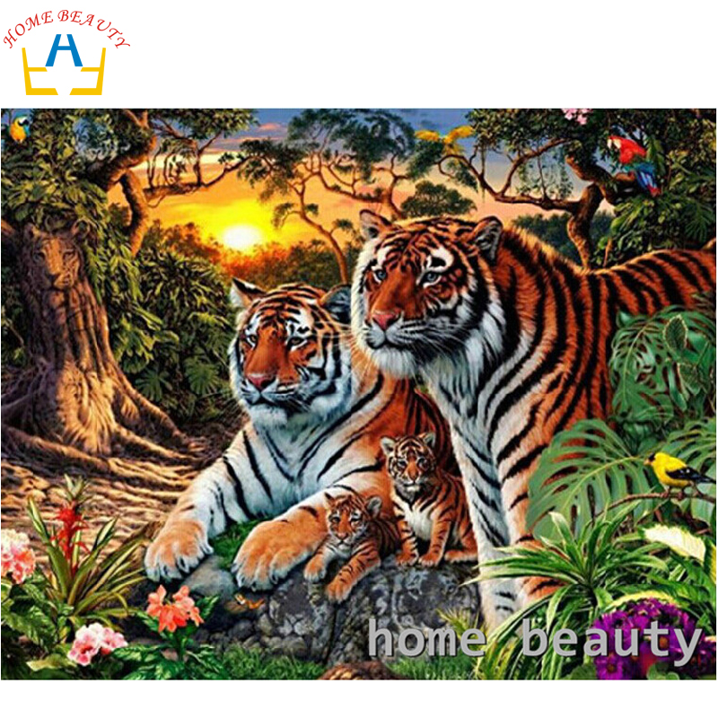 HOME BEAUTY diy 3d diamond painting picture of rhinestones canvas paint tiger family diamond mosaic embroidery animals AA112(China (Mainland))
