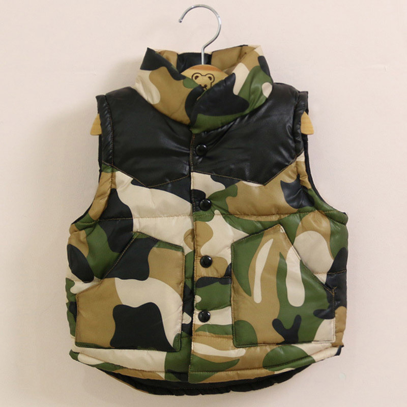 Retail Top Quality 2015 New Autumn Winter Children Camouflage Vest For Boys Fashion Warm Thicken Vest Kids Clothes Coat Y06(China (Mainland))