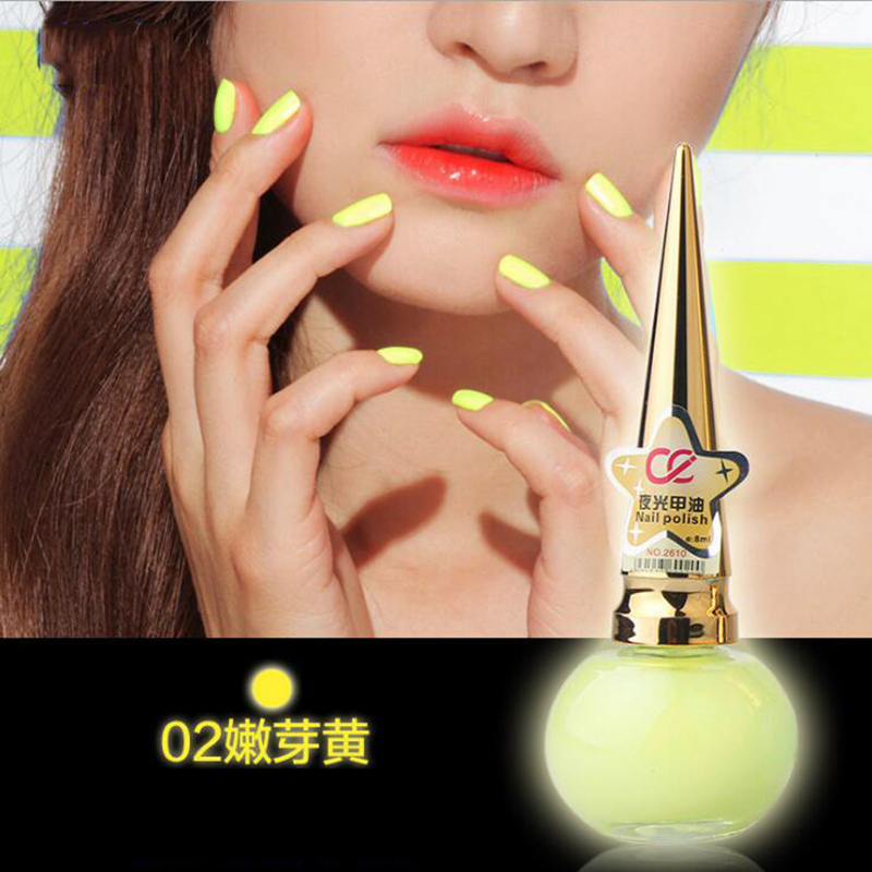 Fluorescent Candy Color Luminous Nail Polish Environmental Healthy 10 Colors Nail Polish ZJY023(China (Mainland))