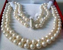 "wholesale DOUBLE STRAND 8-9 MM AKOYA SALTWATER PEARL NECKLACE 18""(China (Mainland))"