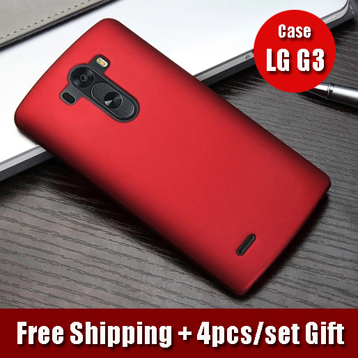 Free Shipping Super Flexible Luxury Brand G3 Case Premuim PC Frosted Back Cover Case for LG G3 D850 VS985 with 4pcs/Set Gift(China (Mainland))
