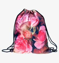 Fresh Harajuku Backpacks 3d Print Roses Flowers Fashion Daily Backpack Unisex Softback Travel Bag Women Drawstring Bags - Mix City store