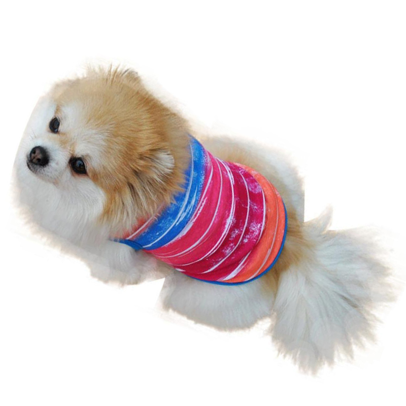 New Small Dog Shirt Voberry Pet Puppy Clothes Funny Cotton Costumes Pet Dog Cat Cute Stripe T Shirt(China (Mainland))