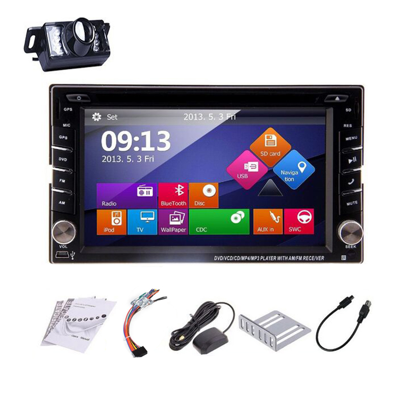 GPS Navigation Double 2 Din WIN8 Car Stereo DVD Player Universal 6.2 inch Car Audio BT USB/SD iPod Car Radio +Free Camera+Map(China (Mainland))