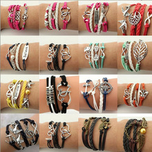Buy New Fashion Jewelry Infinite Multilayer Braided Leather Bracelets Women Charm Vintage Owl Anchors Men bracelet & Bangle for $1.12 in AliExpress store
