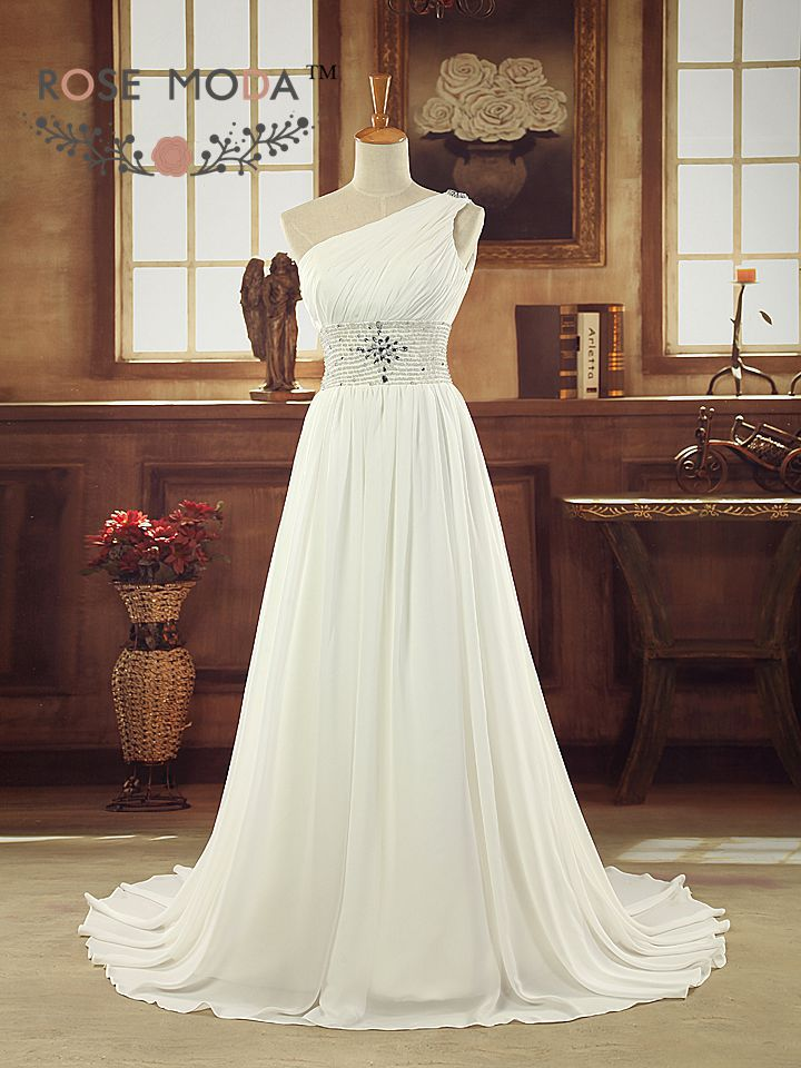 Grecian one shoulder chiffon summer wedding dress with for Grecian chiffon wedding dress