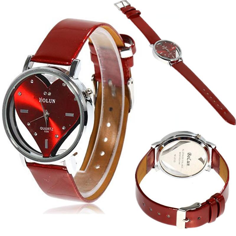 2015 Fashion Heart-Shaped Watch Women Leather Luxury Crystal Watches Clock Lady Quartz Watch Hour montre femme Relogio Feminino(China (Mainland))