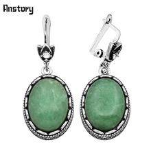 Fashion Jewelry Antique Silver Plated Hollow Flower Oval Pendant Natural Jade Clip On Drop Earrings TE150(China (Mainland))